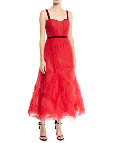 Textured Tulle Gown w/ Corset Bodice & Velvet Trim