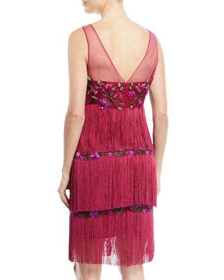 Sleeveless Embroidered Fringe Dress