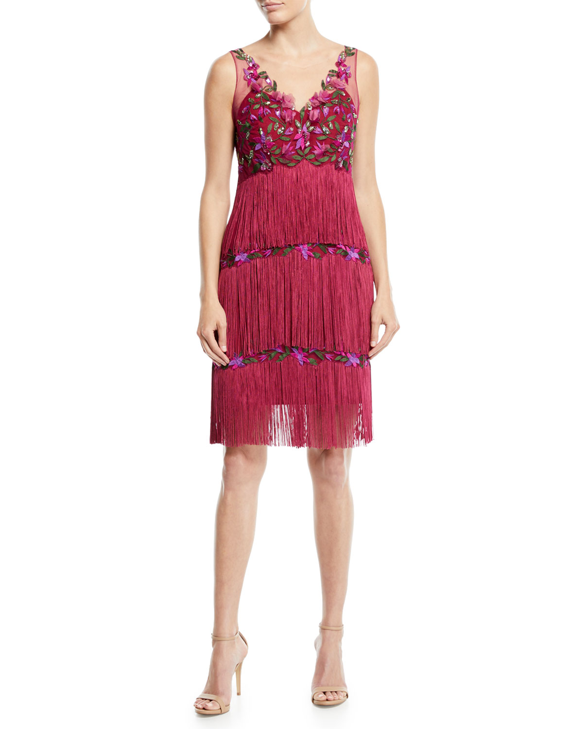 7abf9d7d5f Marchesa Notte Sleeveless Embroidered Fringe Dress | Neiman Marcus
