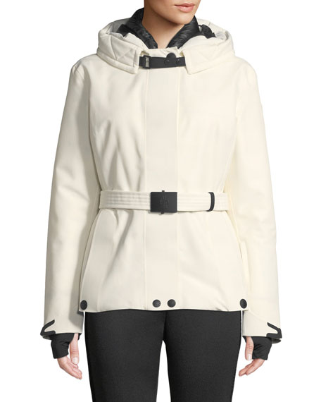 Moncler Grenoble Laplance Belted Coat w/ Detachable Fur
