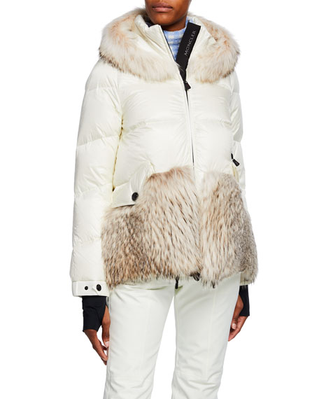 Moncler Grenoble Joux Quilted Coat w/ Fur & Hood