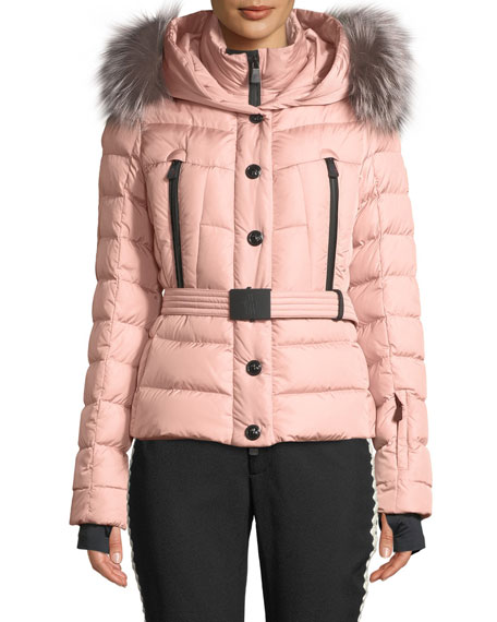 Moncler Grenoble Beverly Fitted Puffer Coat w/ Removable Fur | Neiman Marcus