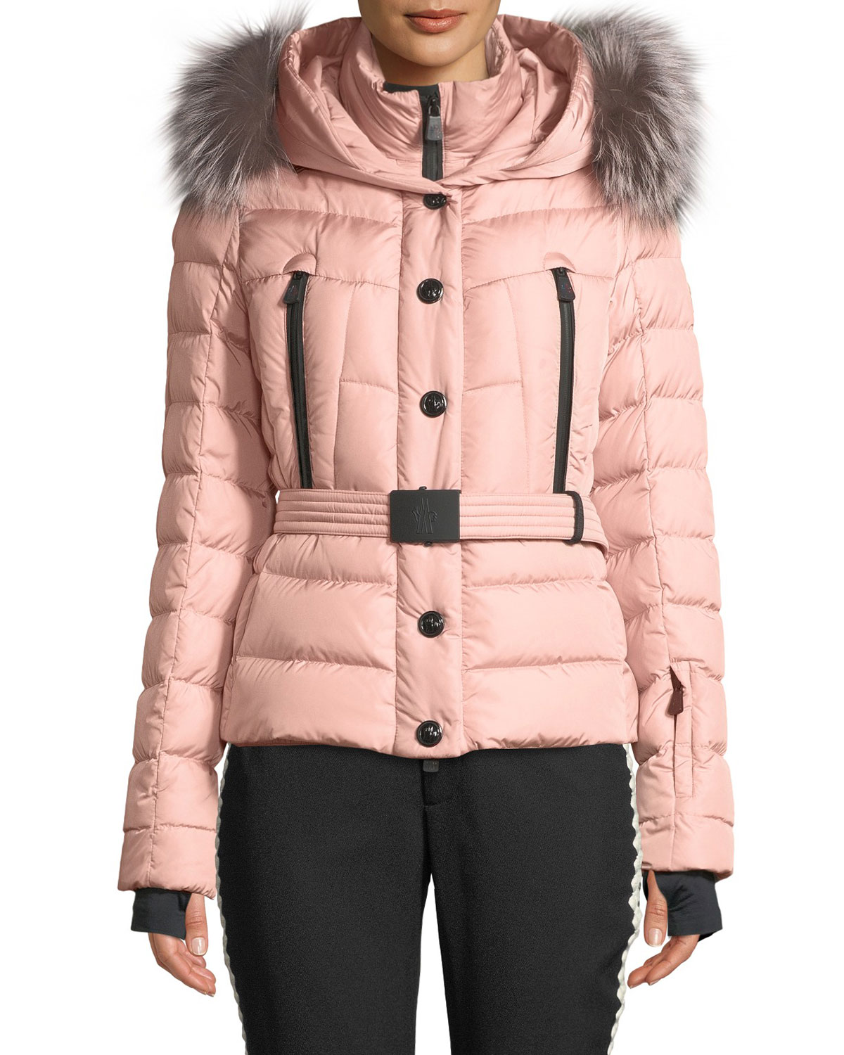 a7853ba84 Moncler Grenoble Beverly Fitted Puffer Coat w  Removable Fur ...