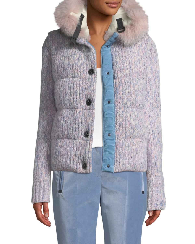 357a39f3a Tweed Cable-Knit Puffer Coat w/ Fur-Trim Hood