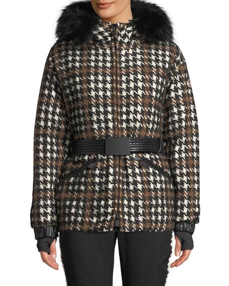 Moncler Grenoble Gardena Houndstooth Coat w/ Lamb Shearling