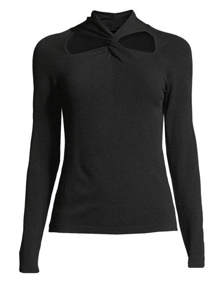 Twist-Neck Pullover Sweater