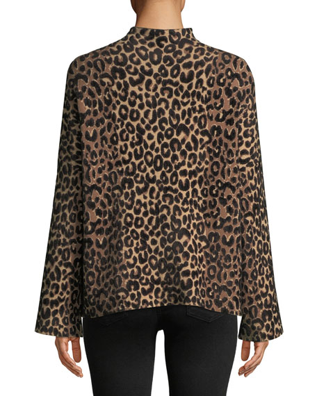 Milly Mock Neck Long Sleeve Textured Cheetah Sweater