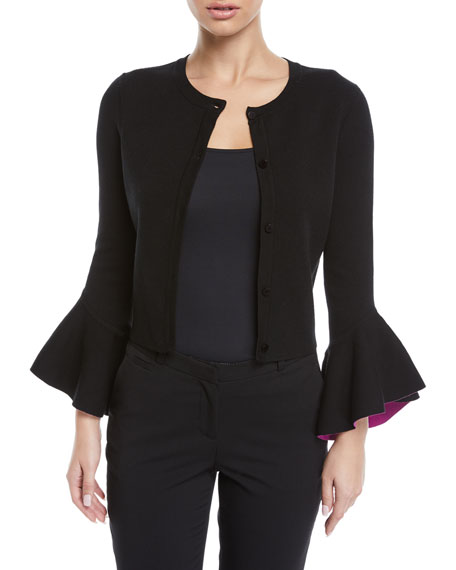 Crewneck Button-Front Draped-Sleeve Cropped Knit Cardigan