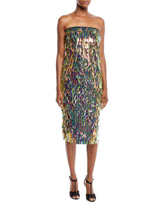 80134f7b3 Milly Nickie Strapless Matchstick Paillette Midi Cocktail Dress | Neiman  Marcus