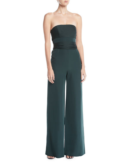 Brooke Strapless Sash-Waist Wide-Leg Italian-Cady Jumpsuit