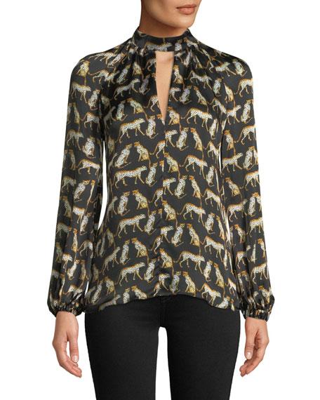 Emmie Long-Sleeve Cheetah-Print Silk Top