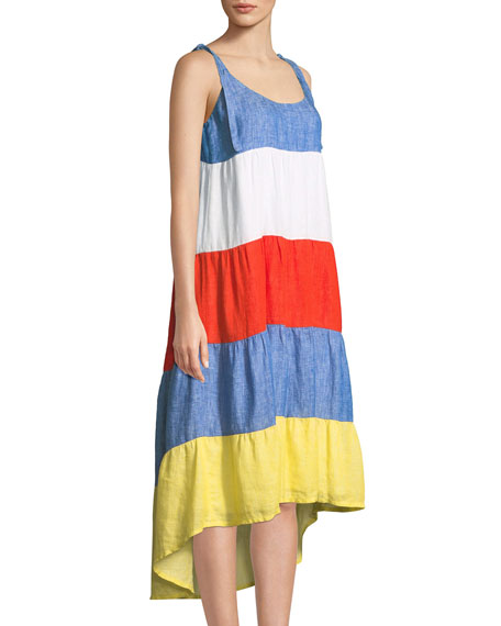 Eufonia Colorblock Linen High-Low Dress