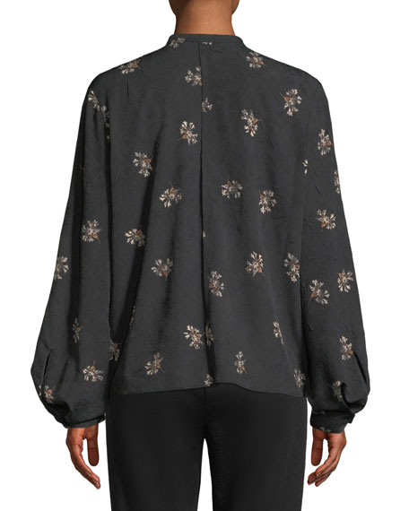 Vince Tossed Bouquet Silk Tie-Neck Blouse