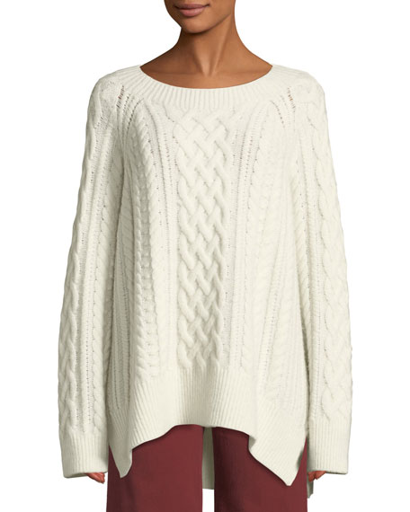 Cable-Knit Wool-Blend Tunic Sweater