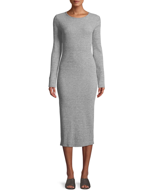 0ff9afc8df1 Vince Long-Sleeve Ribbed Knit Crewneck Midi Dress
