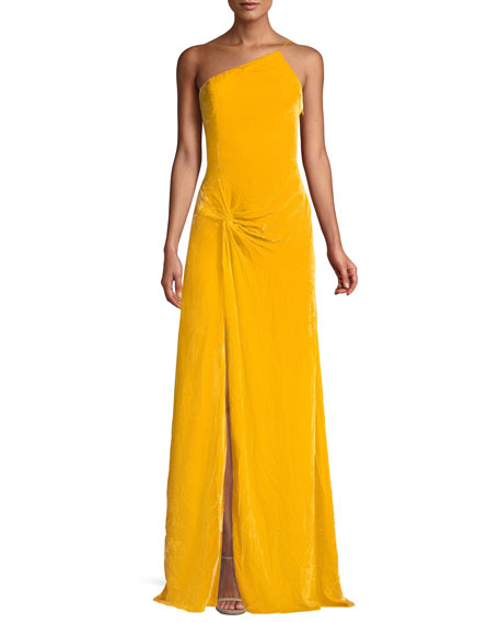 Liza One-Shoulder Knot-Front Gown, Yellow
