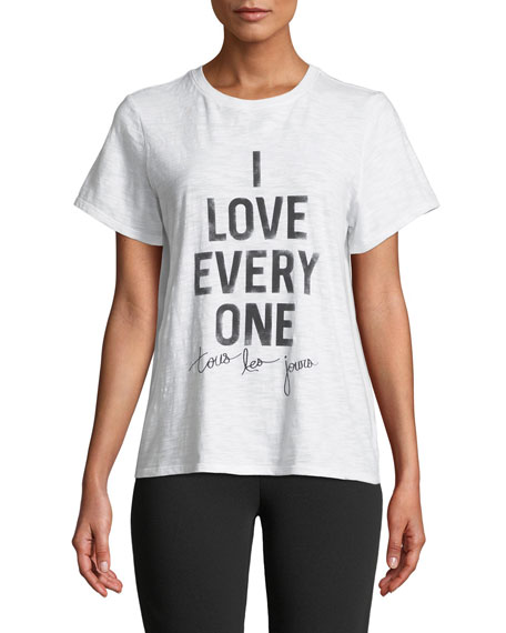 Image 1 of 3: cinq a sept Tous Les Jours I Love Everyone Short-Sleeve Graphic Tee