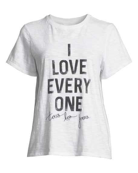 Image 3 of 3: cinq a sept Tous Les Jours I Love Everyone Short-Sleeve Graphic Tee