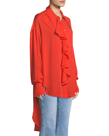 Rosalie Ruffled Button-Front Long-Sleeve High-Low Twill Top