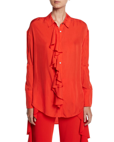 cinq a sept Rosalie Ruffled Button-Front Long-Sleeve High-Low