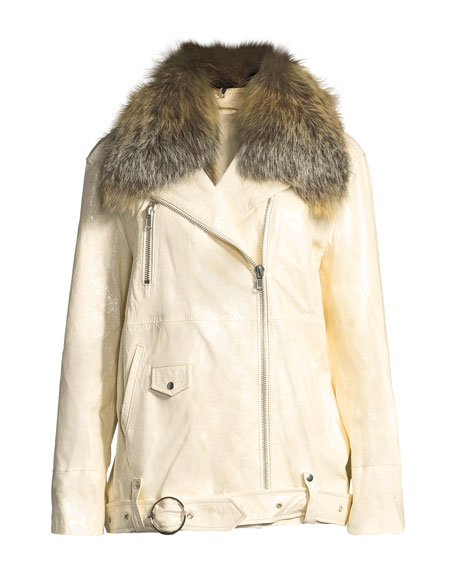 Emilia Patent Leather Jacket w/ Fox Fur Collar