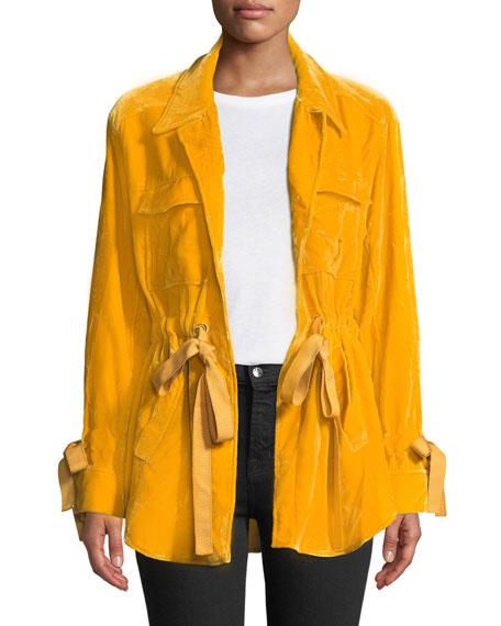 cinq a sept Mathieu Tie-Front Velvet Utility Jacket