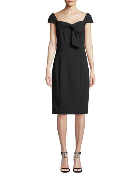 Badgley Mischka Collection Sheath Dress w/ Draped Collar