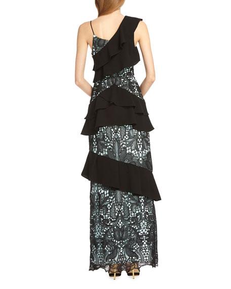 ML Monique Lhuillier Asymmetric Lace & Crepe Ruffle Gown