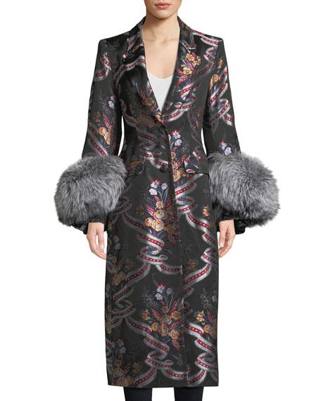 cinq a sept Blanche Floral Coat w/ Fox
