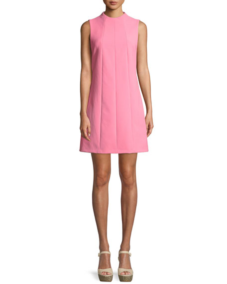 Coley Mock-Neck Sleeveless Seamed A-Line Mini Dress