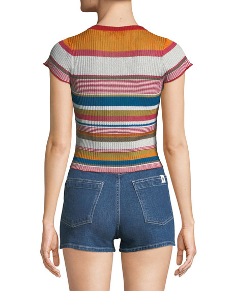 Katie Striped Short-Sleeve Cropped Tee
