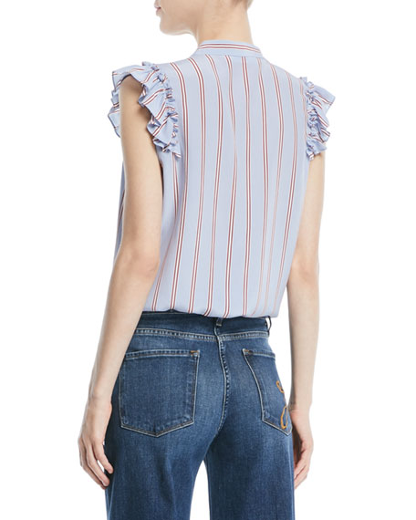 Image 2 of 2: FRAME Striped Sleeveless Ruffle Button-Front Top