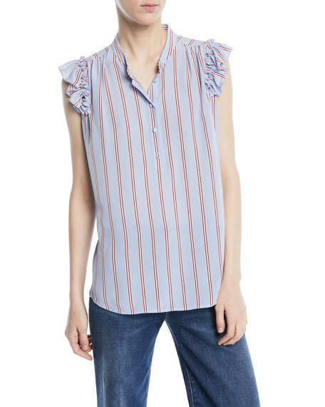 Image 1 of 2: FRAME Striped Sleeveless Ruffle Button-Front Top