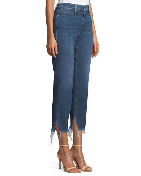 Le High Straight-Leg Frayed-Hem Jeans