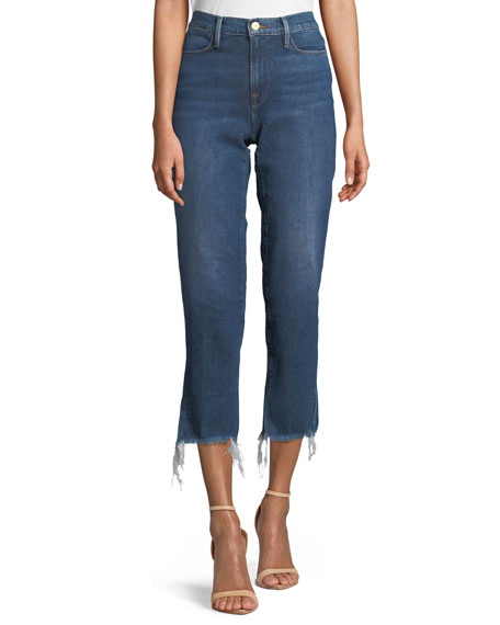 FRAME Le High Straight-Leg Frayed-Hem Jeans