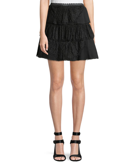 Iggy Pleated Lace Mini Skirt