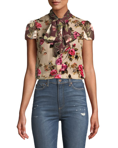 Jeannie Bow-Collar Cap-Sleeve Button-Front Blouse