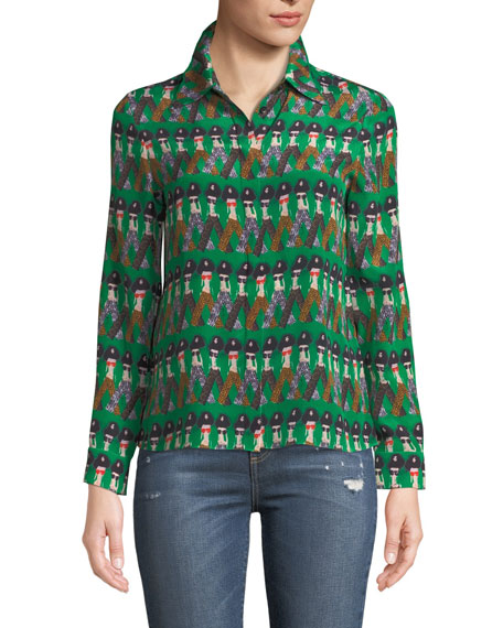 Alice + Olivia Willa Large-Collar StaceFace Printed Silk