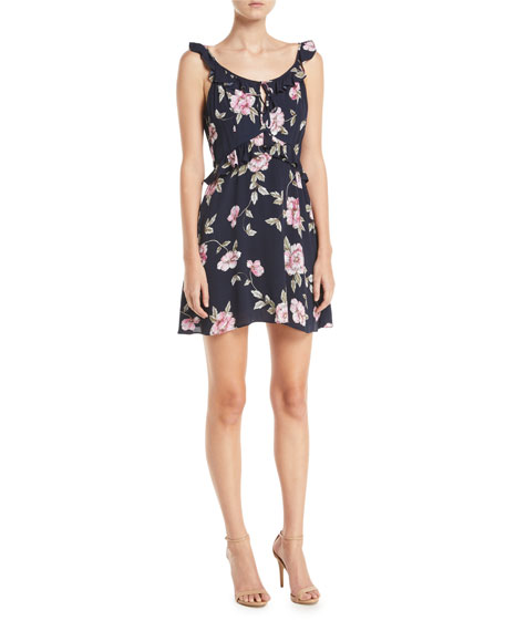 Loraine Floral-Print Ruffle Mini Dress