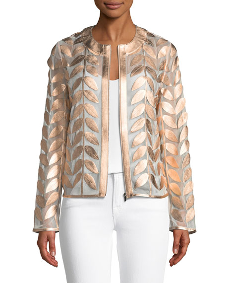 Neiman Marcus Metallic Leather Leaf & Mesh Combo