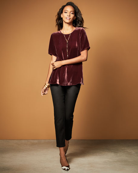 Eileen Fisher Short-Sleeve Velvet Box Top