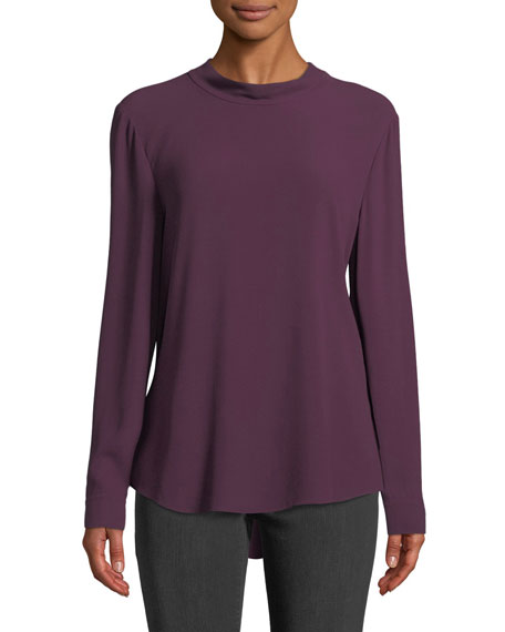 Back-Tie Long-Sleeve Silk Blouse