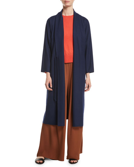 Eileen Fisher Boiled Wool Jersey Long Wrap Jacket