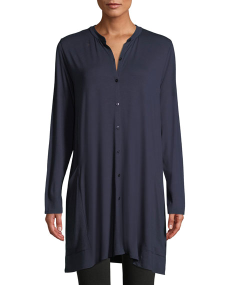 Viscose Jersey Button-Front Tunic