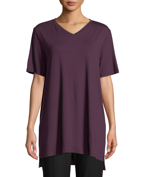 Short-Sleeve V-Neck Jersey Tunic, Petite
