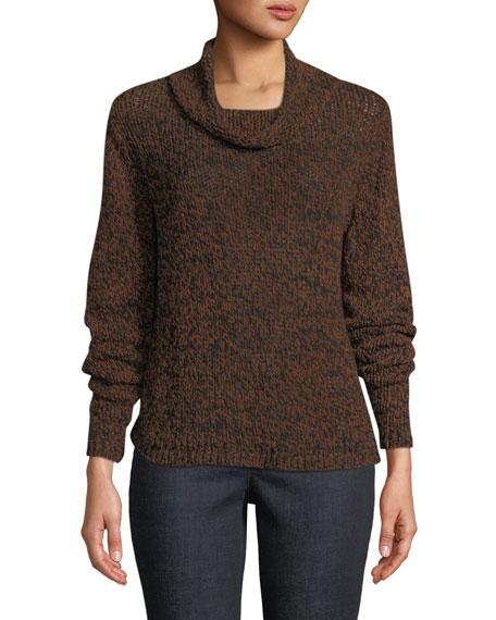 Eileen Fisher Textured-Knit Funnel-Neck Sweater