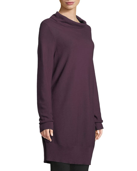 Tencel/Silk Turtleneck Tunic Sweater