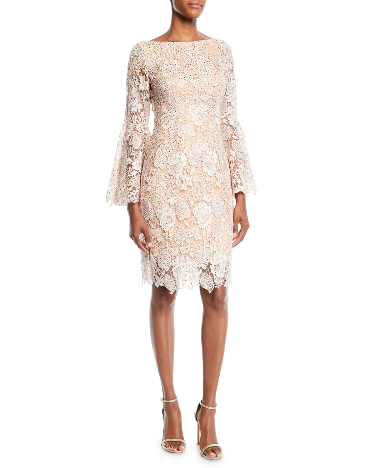 d40ee3cef Jovani Scalloped Lace Cocktail Dress w  Trumpet Sleeves