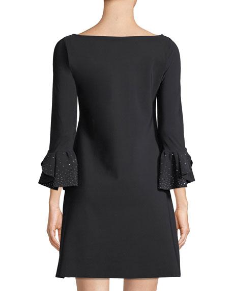 Chiara Boni La Petite Robe Acurabis Short Cocktail Dress w/ Studded Cuffs