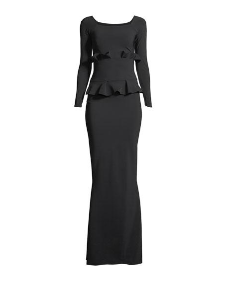 Erin Long-Sleeve Gown w/ Double Peplum Waist